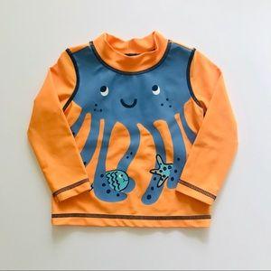 Carter's Orange Octopus Rash Guard Size 6-12 M